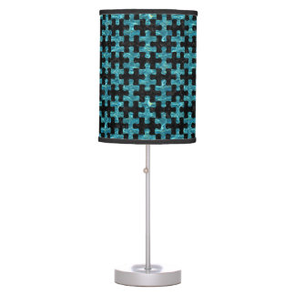 PUZZLE1 BLACK MARBLE & BLUE-GREEN WATER TABLE LAMP
