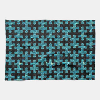 PUZZLE1 BLACK MARBLE & BLUE-GREEN WATER TOWELS