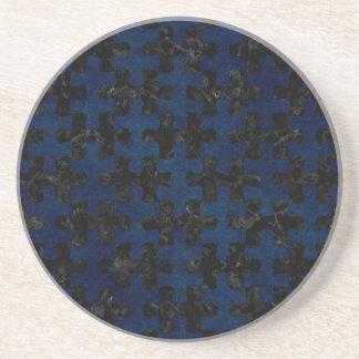 PUZZLE1 BLACK MARBLE & BLUE GRUNGE COASTER