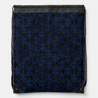 PUZZLE1 BLACK MARBLE & BLUE GRUNGE DRAWSTRING BAG