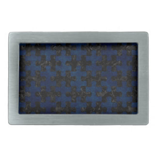 PUZZLE1 BLACK MARBLE & BLUE GRUNGE RECTANGULAR BELT BUCKLE