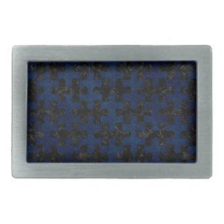 PUZZLE1 BLACK MARBLE & BLUE GRUNGE RECTANGULAR BELT BUCKLES