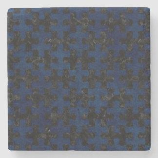 PUZZLE1 BLACK MARBLE & BLUE GRUNGE STONE COASTER