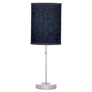 PUZZLE1 BLACK MARBLE & BLUE GRUNGE TABLE LAMP