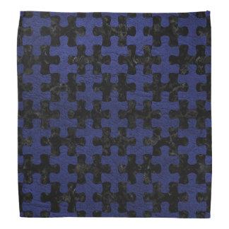 PUZZLE1 BLACK MARBLE & BLUE LEATHER BANDANA