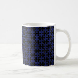 PUZZLE1 BLACK MARBLE & BLUE LEATHER COFFEE MUG