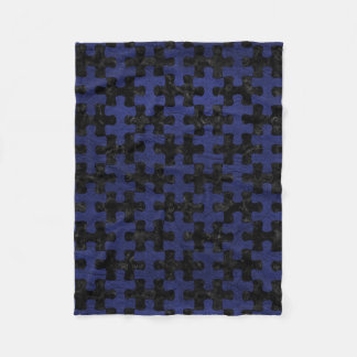 PUZZLE1 BLACK MARBLE & BLUE LEATHER FLEECE BLANKET