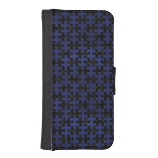 PUZZLE1 BLACK MARBLE & BLUE LEATHER iPhone SE/5/5s WALLET CASE