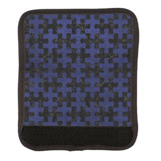 PUZZLE1 BLACK MARBLE & BLUE LEATHER LUGGAGE HANDLE WRAP
