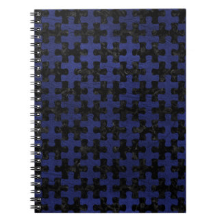 PUZZLE1 BLACK MARBLE & BLUE LEATHER NOTEBOOKS