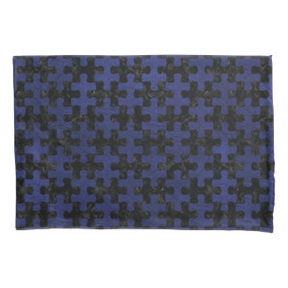 PUZZLE1 BLACK MARBLE & BLUE LEATHER PILLOWCASE
