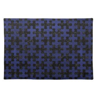 PUZZLE1 BLACK MARBLE & BLUE LEATHER PLACEMAT