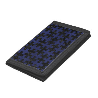 PUZZLE1 BLACK MARBLE & BLUE LEATHER TRI-FOLD WALLET