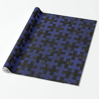 PUZZLE1 BLACK MARBLE & BLUE LEATHER WRAPPING PAPER