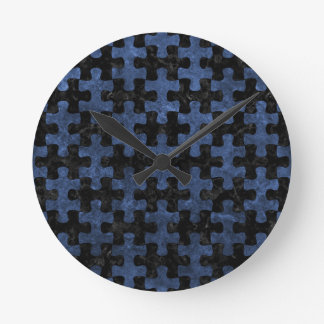 PUZZLE1 BLACK MARBLE & BLUE STONE CLOCK