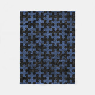 PUZZLE1 BLACK MARBLE & BLUE STONE FLEECE BLANKET