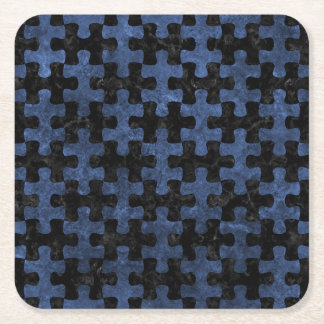 PUZZLE1 BLACK MARBLE & BLUE STONE SQUARE PAPER COASTER