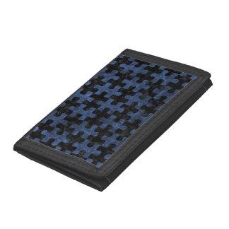 PUZZLE1 BLACK MARBLE & BLUE STONE TRI-FOLD WALLET