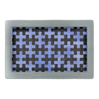 PUZZLE1 BLACK MARBLE & BLUE WATERCOLOR BELT BUCKLE
