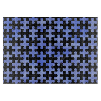 PUZZLE1 BLACK MARBLE & BLUE WATERCOLOR CUTTING BOARD
