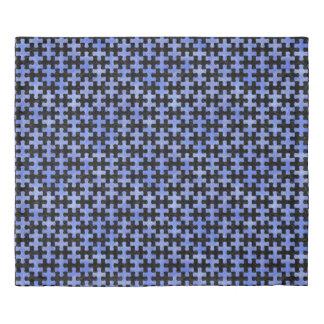 PUZZLE1 BLACK MARBLE & BLUE WATERCOLOR DUVET COVER
