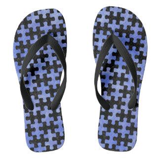 PUZZLE1 BLACK MARBLE & BLUE WATERCOLOR FLIP FLOPS