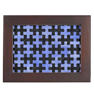 PUZZLE1 BLACK MARBLE & BLUE WATERCOLOR KEEPSAKE BOX