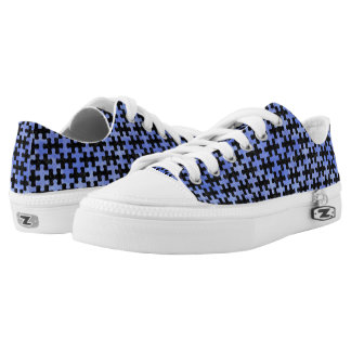 PUZZLE1 BLACK MARBLE & BLUE WATERCOLOR Low-Top SNEAKERS
