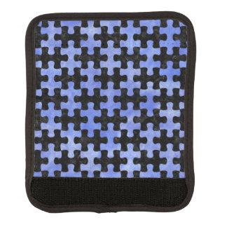PUZZLE1 BLACK MARBLE & BLUE WATERCOLOR LUGGAGE HANDLE WRAP