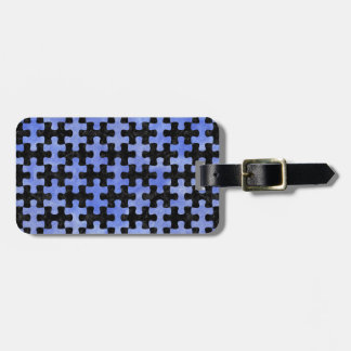 PUZZLE1 BLACK MARBLE & BLUE WATERCOLOR LUGGAGE TAG