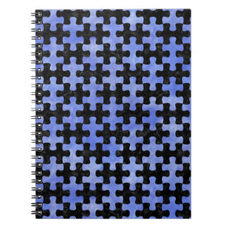 PUZZLE1 BLACK MARBLE & BLUE WATERCOLOR SPIRAL NOTEBOOK