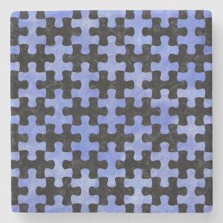 PUZZLE1 BLACK MARBLE & BLUE WATERCOLOR STONE COASTER