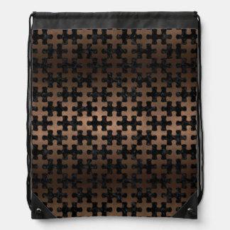 PUZZLE1 BLACK MARBLE & BRONZE METAL DRAWSTRING BAG