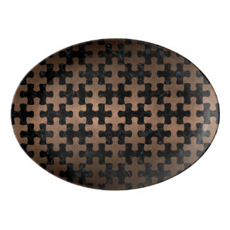 PUZZLE1 BLACK MARBLE & BRONZE METAL PORCELAIN SERVING PLATTER