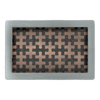 PUZZLE1 BLACK MARBLE & BRONZE METAL RECTANGULAR BELT BUCKLE