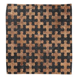 PUZZLE1 BLACK MARBLE & BROWN STONE BANDANA