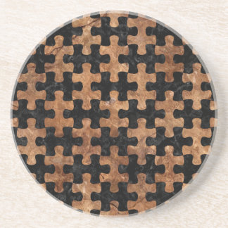 PUZZLE1 BLACK MARBLE & BROWN STONE COASTER