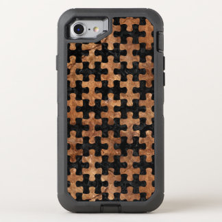 PUZZLE1 BLACK MARBLE & BROWN STONE OtterBox DEFENDER iPhone 8/7 CASE