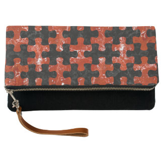 PUZZLE1 BLACK MARBLE & RED MARBLE CLUTCH