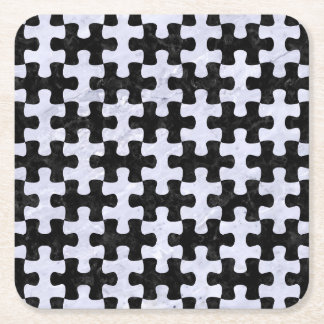 PUZZLE1 BLACK MARBLE & WHITE MARBLE SQUARE PAPER COASTER