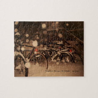 Puzzle: bicycles in the snow jigsaw puzzle