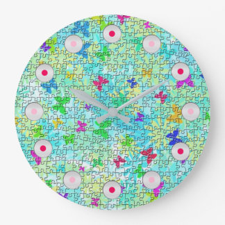 Puzzle Butterflies and Daisies-Colorful by STaylor Large Clock