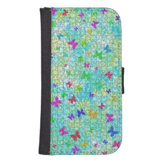 Puzzle Butterflies and Daisies-Colorful by STaylor Phone Wallets