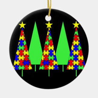 Puzzle Christmas Trees - Autism Awareness Ceramic Ornament