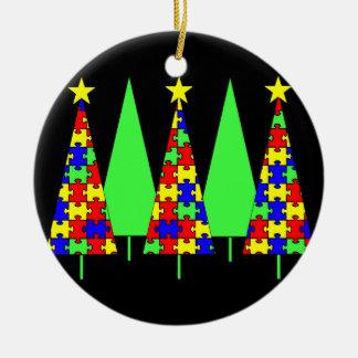 Puzzle Christmas Trees - Autism Awareness Round Ceramic Ornament