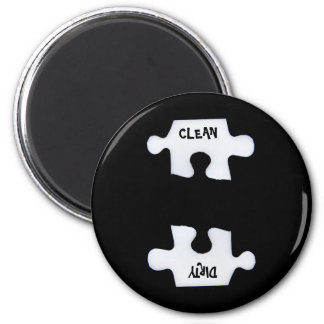 Puzzle clean and dirty 2 inch round magnet