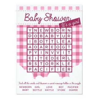 puzzle de baby shower de fille carton d'invitation  13,97 cm x 19,05 cm