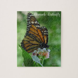 Puzzle Fluttering Monarch Butterfly on Pink Flower