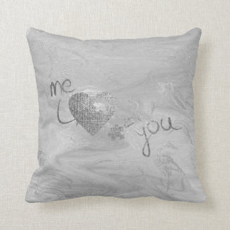 Puzzle Heart Silver Gray Bubble Love Marble Molten Throw Pillow