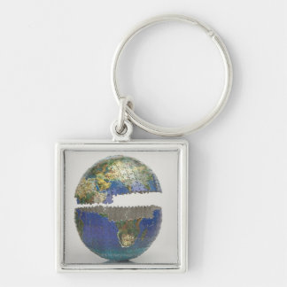 Puzzle of the globe key chains